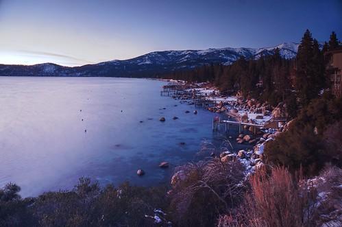 longexposure winter sunset sky mountain lake snow water rocks outdoor nevada laketahoe clear shore serene hdr landingstage inclinevillage ndfilter photomatix fav200 1xp nex6 selp1650
