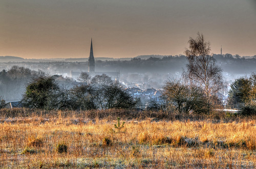 morning winter cold field grass landscape frost view cathedral frosty spire salisbury
