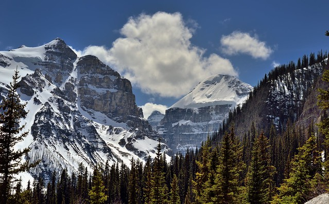 Mount Aberdeen and Mount Lefroy and a View Across a Glacial Valley (Banff National Park)