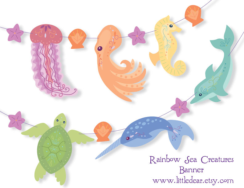 graphic regarding Printable Sea Creatures named printable sea creatures banner suits my refreshing felt sea cre