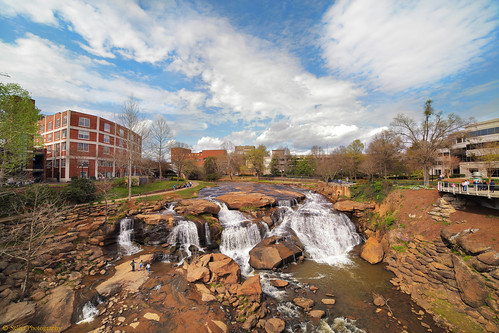 park blue sky urban sc water clouds river spring downtown outdoor southcarolina upstate waterfalls greenville fallspark reedyriver libertybridge
