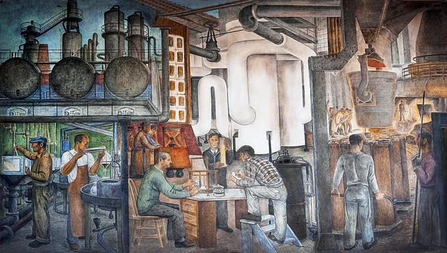 Coit Tower murals - industrial production, ground floor