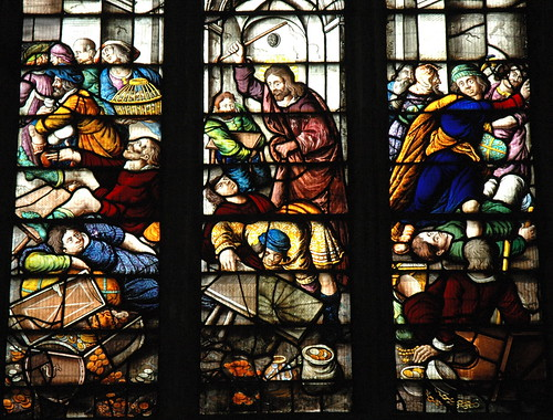 Jesus drives the money-changers from the Temple | by Mike Knell