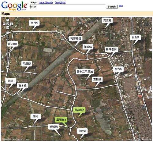 google map:五十二甲風箱樹位置圖(東側)
