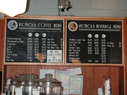 Victrola's menu