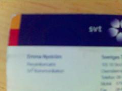 Visitkort för Emma Nyström, SVT