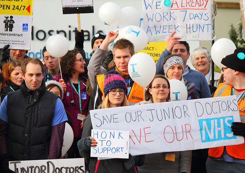 Part of a Junior Doctors Strike Picket outside Norfolk and Norwich University Hospital A3 size | by Roger Blackwell