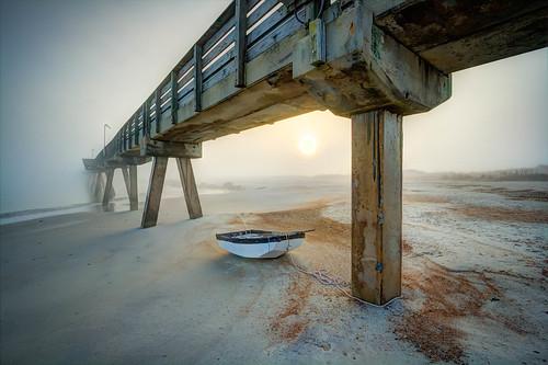 park beach fog sunrise pier sand state fort rowboat hdr oars dense clinch