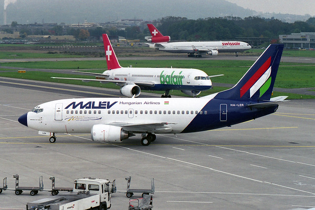 """Malev - Hungarian Airlines Boeing 737-5K5 HA-LER """"1000 year old Hungary"""" sticker"""