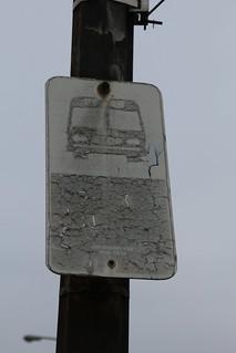 Old Gary Public Transit Bus Stop Sign