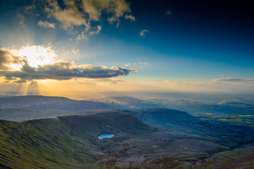 uk blue light sky sun mountain lake cold beautiful wales clouds landscape warm view horizon brecon penyfan