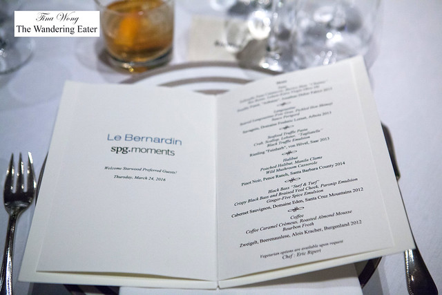 Dinner menu of the evening with SPG (Starwood Preferred Guests)