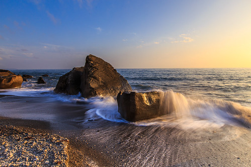 sunset 夕陽 台灣 海岸 日落 6d 浪 浪花 岩石 海灘 屏東縣 ef1635mm 枋山鄉 456k