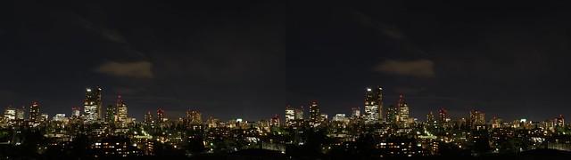 Central of Sendai at night, 4K UHD, stereo cross view