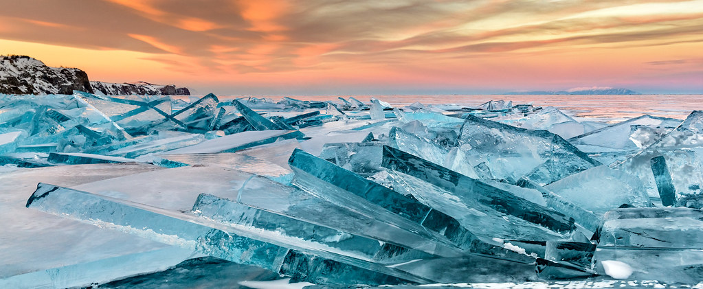 Baikal ice on sunset