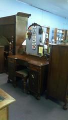Vintage mahogany vanity with bench $450