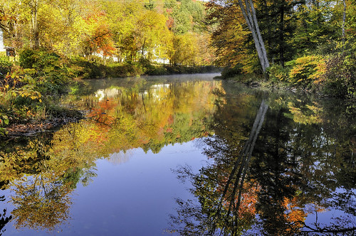 autumn reflection fall river vermont ludlow blackriver