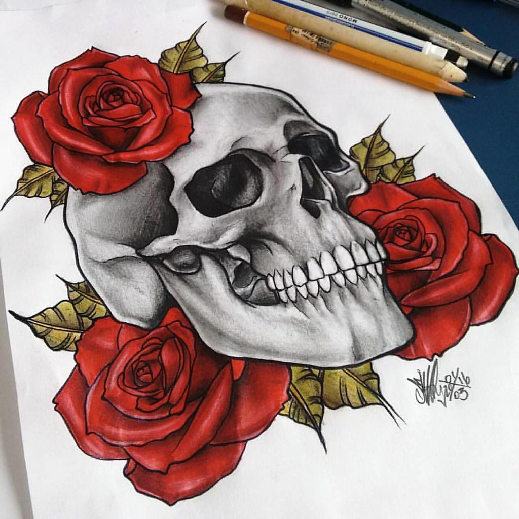 Caveira Com Rosas Mmod