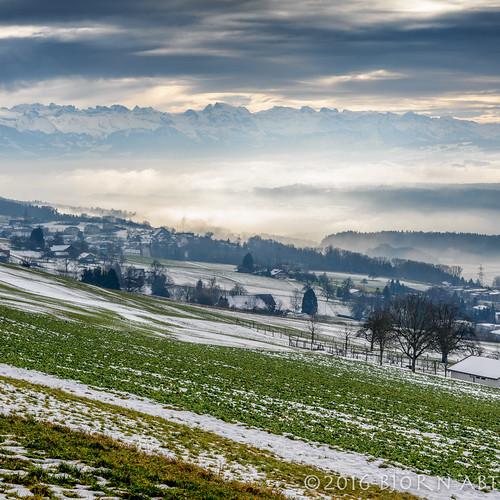 blue sky mountain tree green field fog clouds switzerland nikon hill valley aargau leefilters leeproglass06nd d800e lee09hardgnd leelandscapepolariser