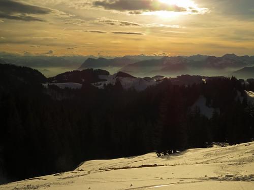 trees winter sunset panorama mist snow mountains clouds forest trekking view hiking snowshoes chiemgau aschau chiemgaueralpen prienerhütte