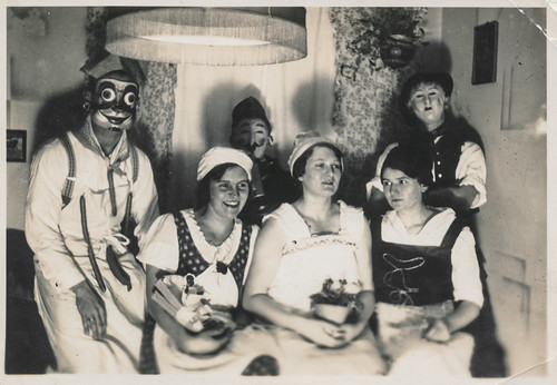 Partiers with unusual masks