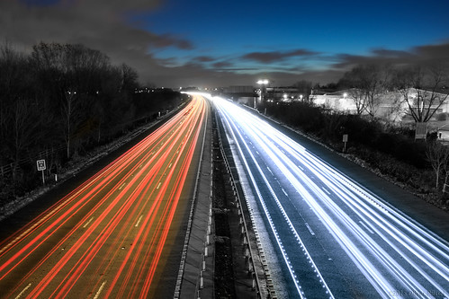 uk longexposure blue sunset red motion clouds dawn movement driving motorway dream autobahn le lighttrails oru m3 30seconds 2015 thecars selectivecolours