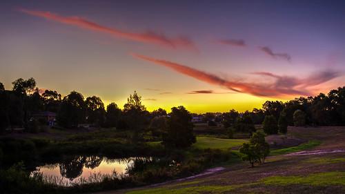 park trees houses sunset summer sky cloud house lake reflection tree water clouds canon landscape pond suburban outdoor dusk reserve australia melbourne victoria suburbs dslr 1740 6d 1740l blackburnsouth canon6d fultonreserve