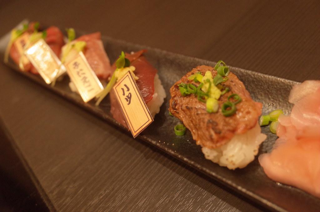 肉寿司盛り合わせ5種5貫