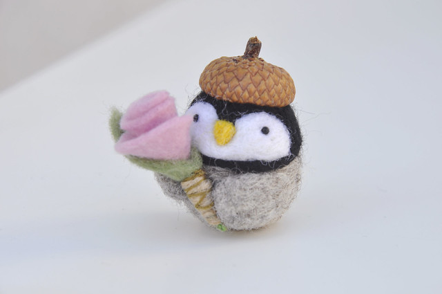 Needle felted penguin valentines day gift