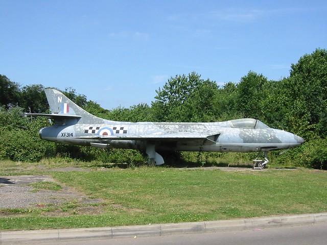 Hunter F-51 ex Royal-Danish-Air-Force/ RDAF E-412. Gate-Guard as RAF colours XF314/N at Booker/Wycombe Air-Park, 16-07-2005.