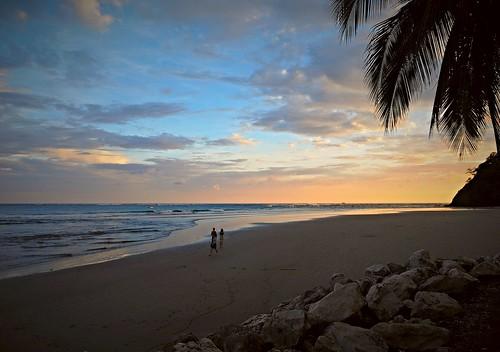 sunset people sunlight beach america evening costarica palmtrees samara