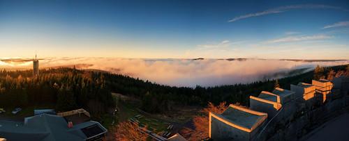 panorama nature fog germany thüringen nikon nebel pano natur foggy turm wald ilmenau thüringer kickelhahn nikond700 natureexploring