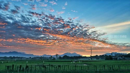 morning blue sky orange cloud mist green beautiful sunrise canon wonderful indonesia landscape scenery powershot handheld g7x canong7x