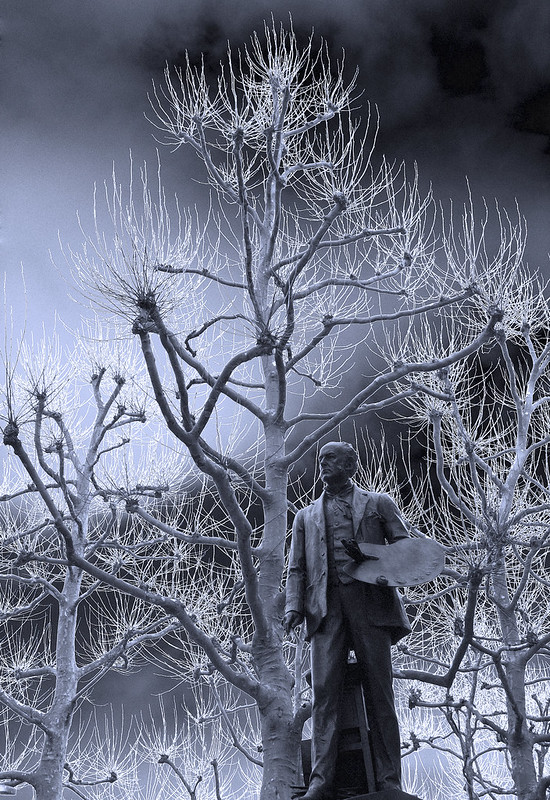 Millais and Solarised Winter Trees, Pimlico, London, 19 February 2007