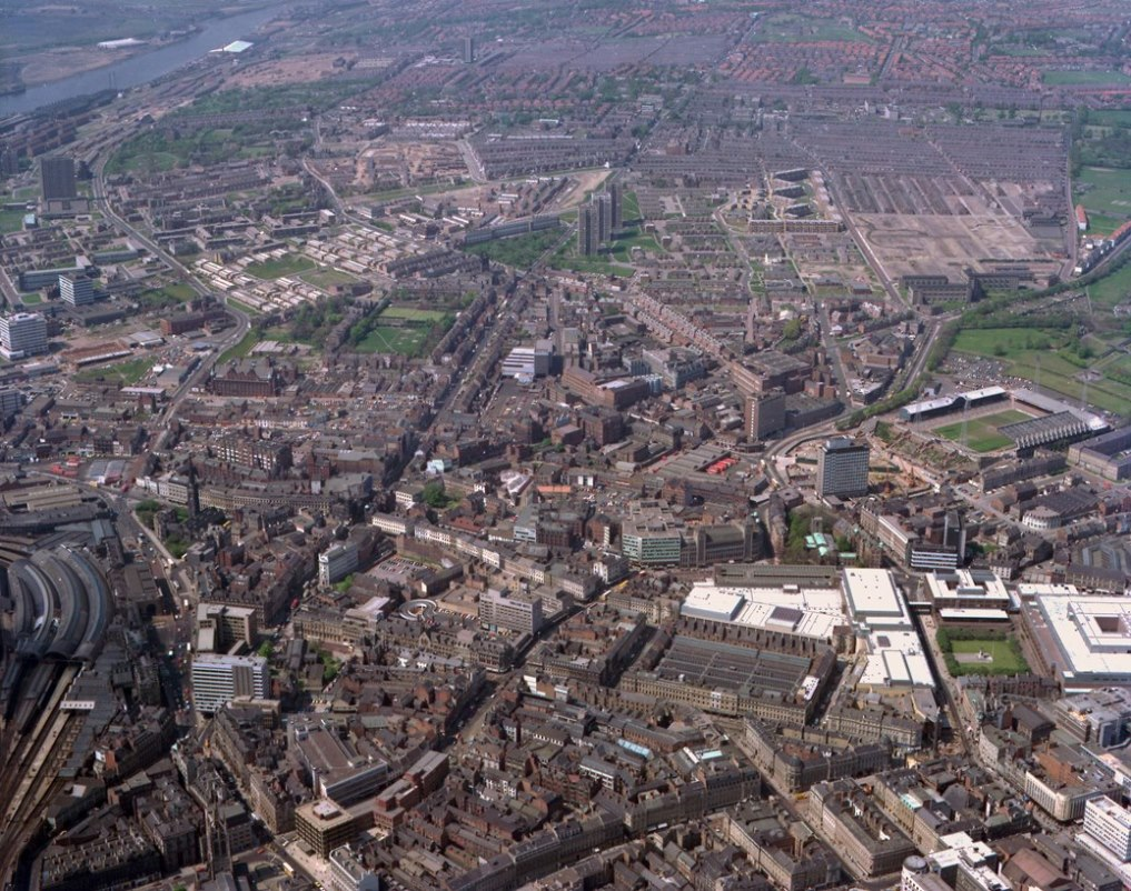 Aerial view of Newcastle upon Tyne, 1977