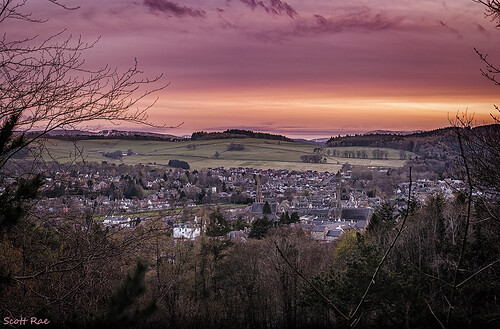 sunset panorama landscape scotland town spring dusk hills peebles scottishborders venlaw