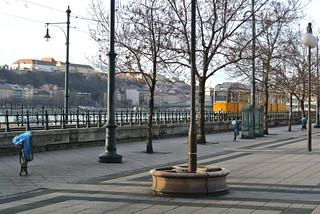 Tram line next to Danube in Budapest