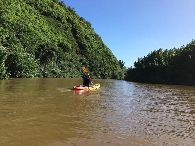 Paddling down the Wailua