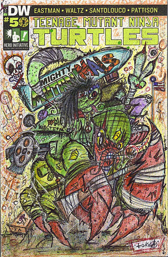 "IDW :: TEENAGE MUTANT NINJA TURTLES #50 // Cover RE Hero Initiative A - ""HERMAN & Mondo Gecko; Peace & War"" by tOkKa (( 2016 )) by tOkKa"