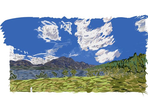 mountains nature meadow digitalpainting glaciernationalpark stmarylake goingtothesunroad grassymeadow cloudsabove blueskieswithclouds adobedraw