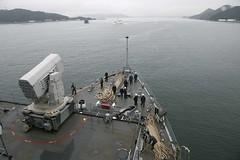 USS Germantown (LSD 42) transits Sasebo Bay as it departs Jan. 29. (U.S. Navy/MC3 James Vasquez)