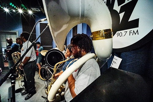 Martin Luther King Charter School brass band at WWOZ for Cuttin' Class. Photo by Eli Mergel