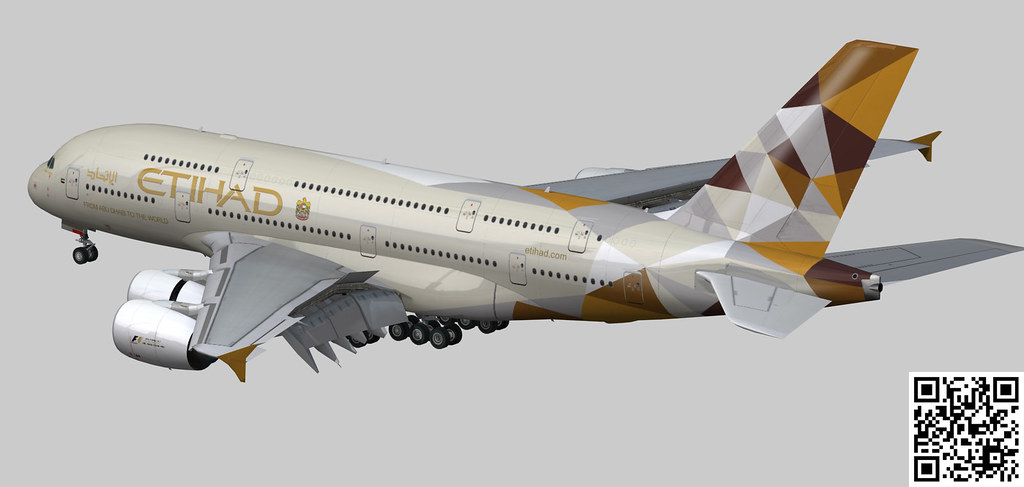 Airbus A380-8 Etihad Airways livery   www cgtrader com/3d-mo