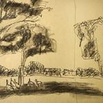 Ein bißchen Schatten, Kohle-/Bleistiftzeichung