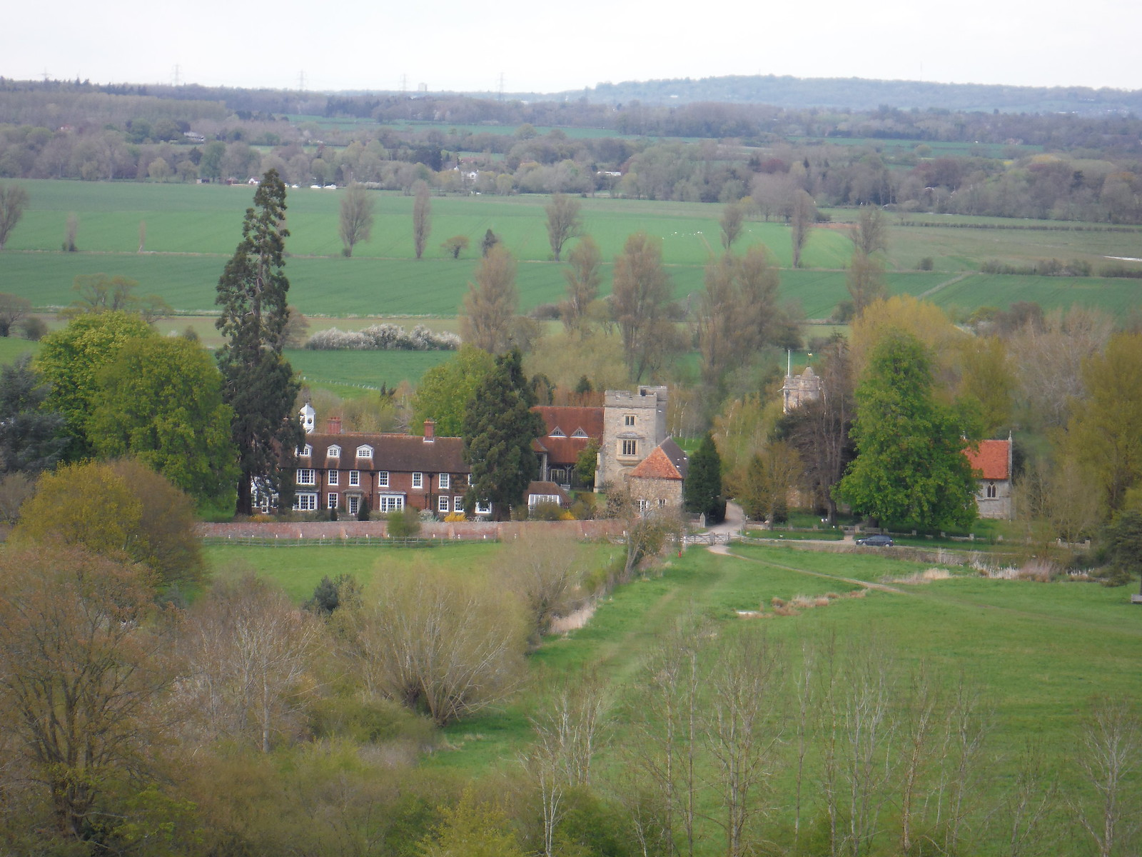 Little Wittenham Church and Manor House, from Round Hill SWC Walk 44 - Didcot Circular
