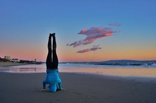 california sunset woman cloud beach yoga person headstand pacificpalisades sirsasana willrogersstatebeach