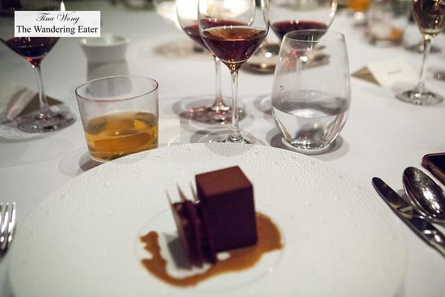 Coffee Caramel Cremeux, Roasted Almond Mousse, Bourbon Froth paired with Zweigelt, Jäger, Wachau, Austria 2014