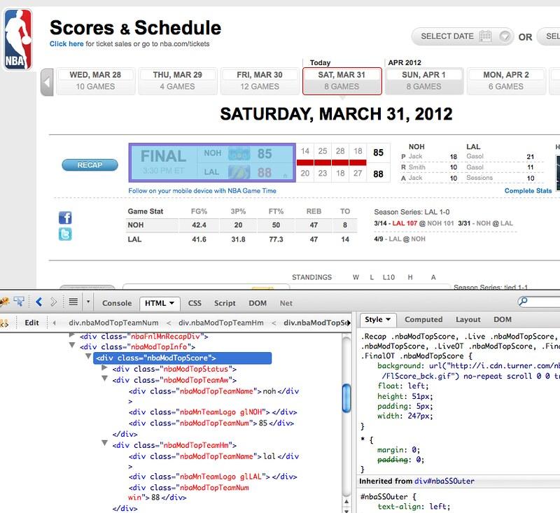 nba.com screenshot