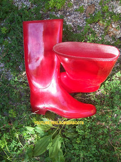 Rubber rain red patent shiny sexy grl woman muddy boots vi