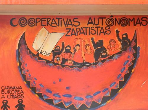 San Cristobal - muurschildering Zapatista rebellen